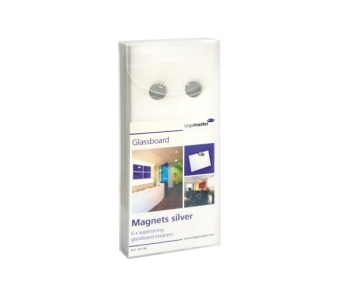 Legamaster 7-181700 Glassboard Magnets- (Pack of 6, Silver)