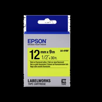 Epson Label Cartridge Fluorescent LK-4YBF Black/Yellow 12mm (9m)