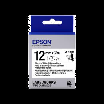 Epson Label Cartridge Heat Resistant LK-4WBH Black/White 12mm (2m)