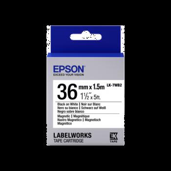 Epson Label Cartridge Magnetic LK-7WB2 Black/White 36mm (1.5m)